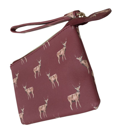 Red Cuckoo Small Red Stag Print Purse