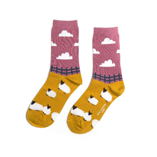 Miss Sparrow Bamboo Sheep Meadow Socks in Mustard
