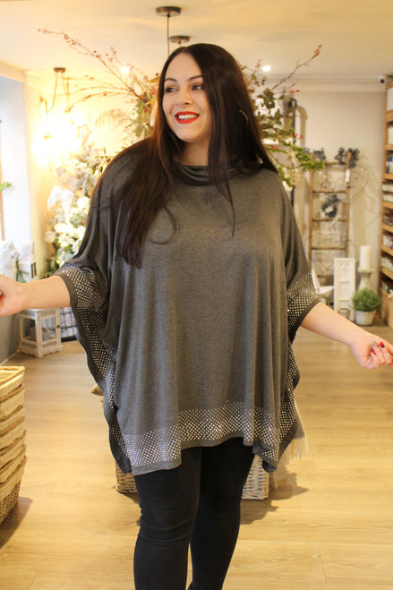 Zooey Sparkle Cowl Neck Top | Grey