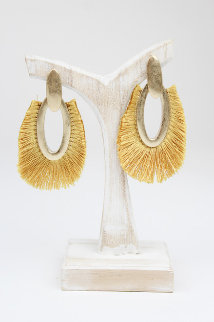 Mustard Frayed Earrings