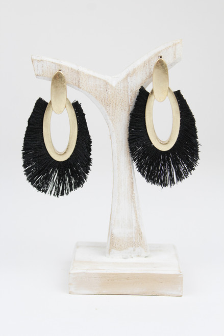 Black Frayed Earrings