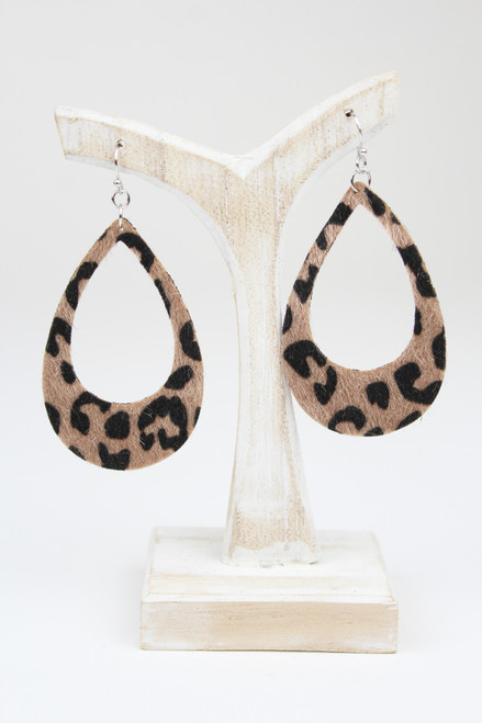 Brown Leopard Effect Textured Earrings