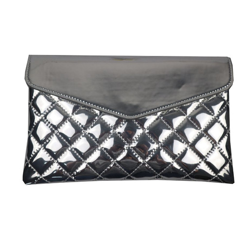 Red Cuckoo Silver Quilted Clutch Bag