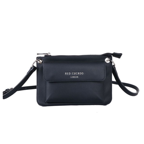 Red Cuckoo Black Front Fastening Cross Body Bag