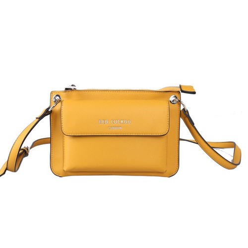 Red Cuckoo Yellow Front Fastening Cross Body Bag