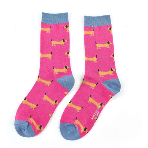 Miss Sparrow Sausage Dogs Socks in Hot Pink
