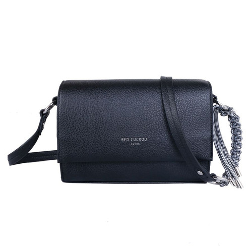 Red Cuckoo Black Foldover Cross Body Bag