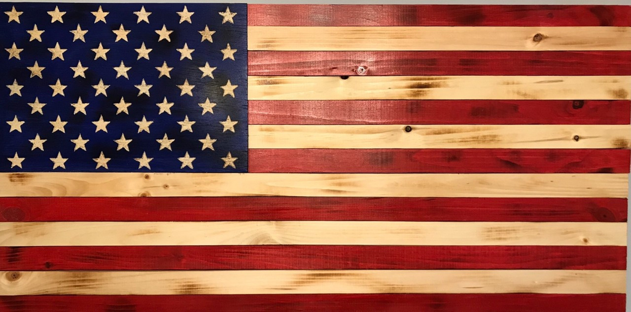 Wooden American Flag Carved Stars On Union 24 X 13 Inches Home
