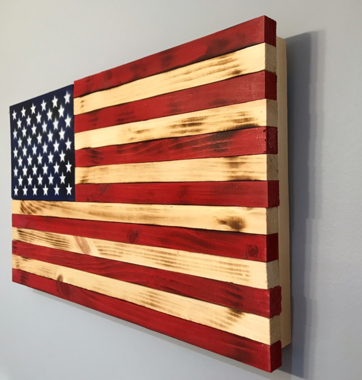 Wooden American Flag Painted Stars On Union 24 X 13 Inches Americana Home Office Decor Patriotic Wall Hanging For Indooroutdoor