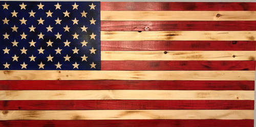 Large Wooden American Flag Painted Stars On Union 47 X 26 Inches