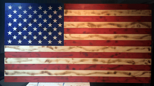 Rustic Wood Large American Flag With Hand Carved Stars On Union