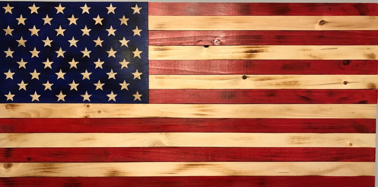 Wooden American Flag with 50 carved stars in the Union. Size 24 x 13 inches, US flag made of wood, flag wall hanging, artwork
