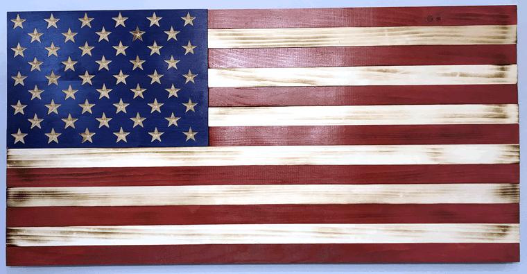 37 inch wooden American flag wall art