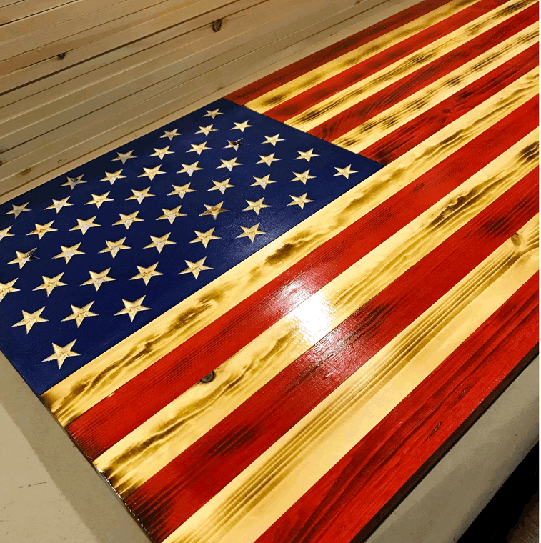 Handmade wooden American flag wall art, stained red and blue, carved stars, large flag wood, large US flag made of wood
