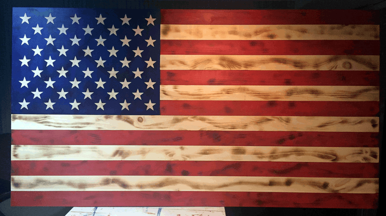 wood American flag  68 x 35.5 inches, extra large american flag made of wood, US flag wooden huge
