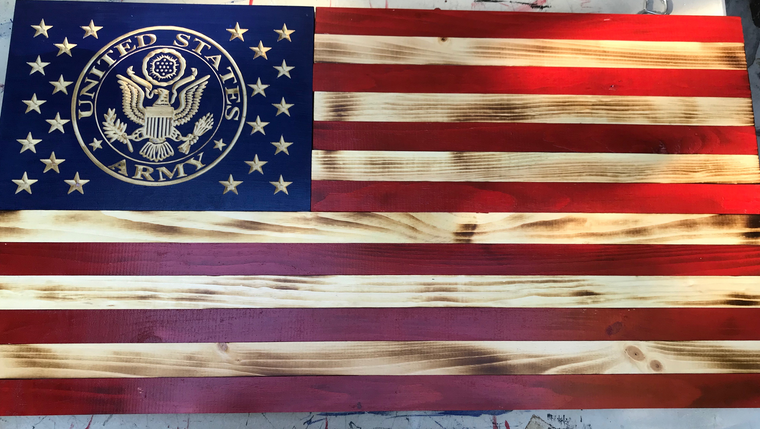 Wooden American flag with US Army Seal carved. Army Flag Wooden. Wood Military flag.