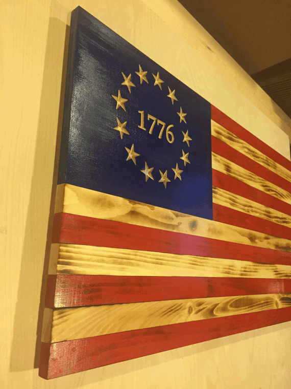 Betsy Ross American Flag Wooden - angled view. 13 stars. 1776 US Flag.
