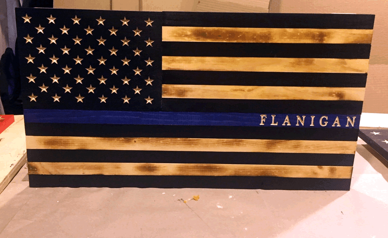 thin blue line police flag wood, customized with police office name