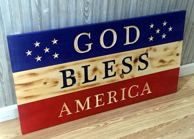Large God Bless America wood sign flag