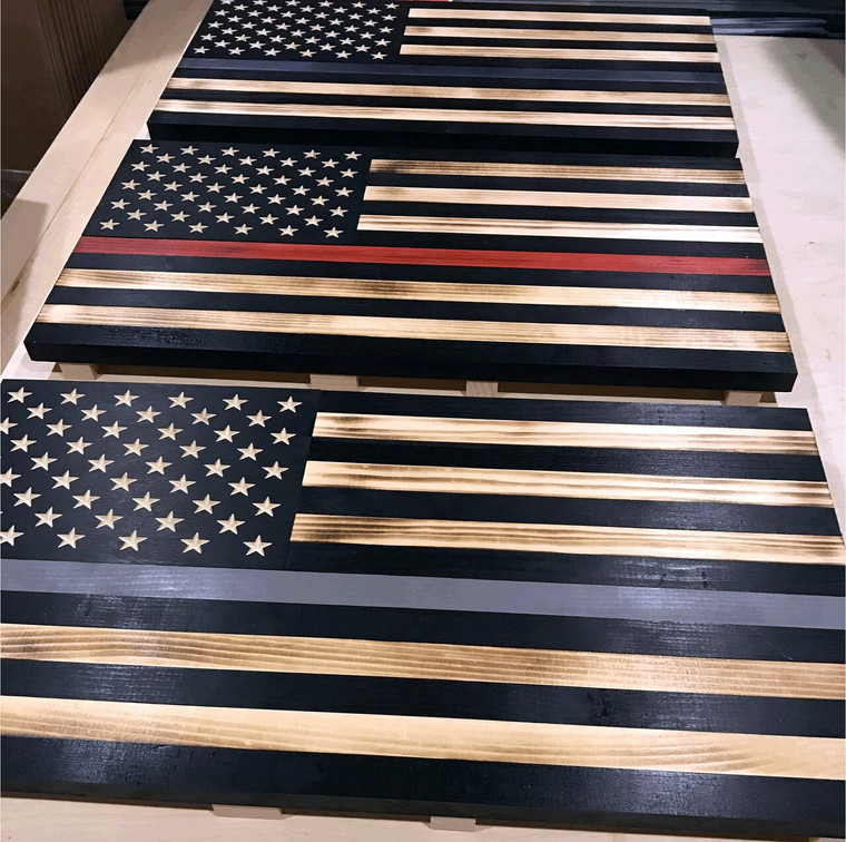 "Thin Gray Line wood flag, Size: 24"" x 13"", Correctional Officer Flag, Subdued American Flag with Thin Gray Line, Thin Silver Line"
