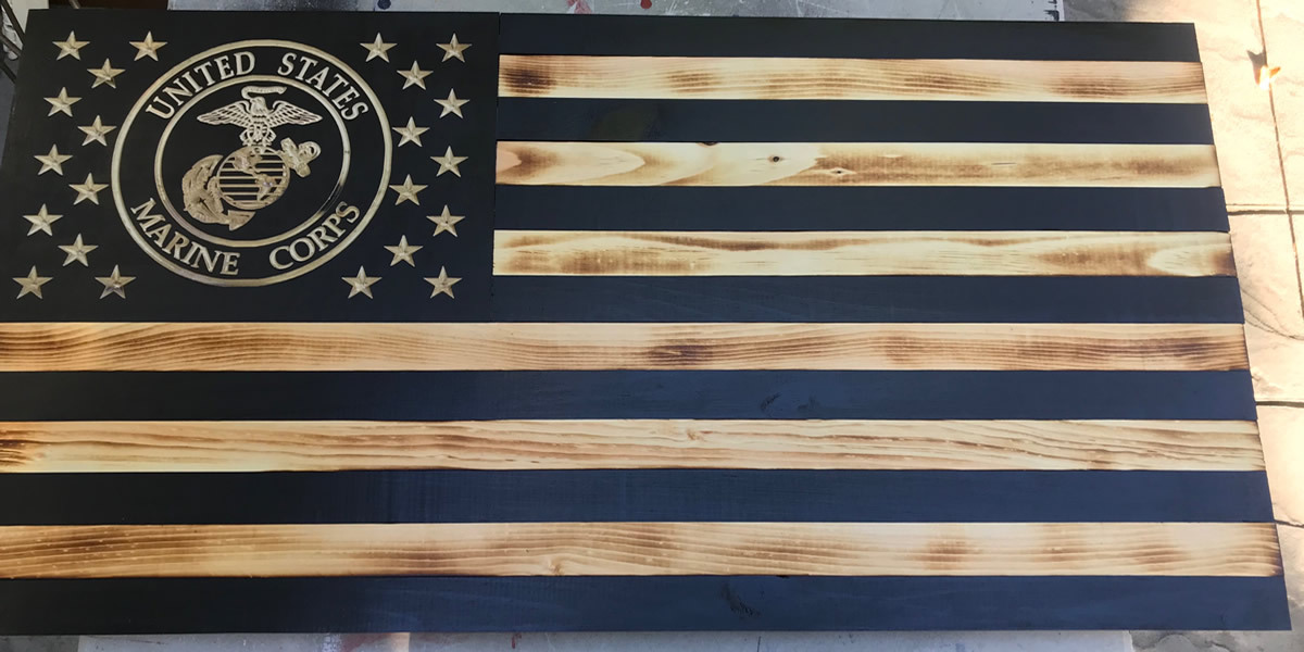 Military Flags wooden, American flag with Military seal carved into union