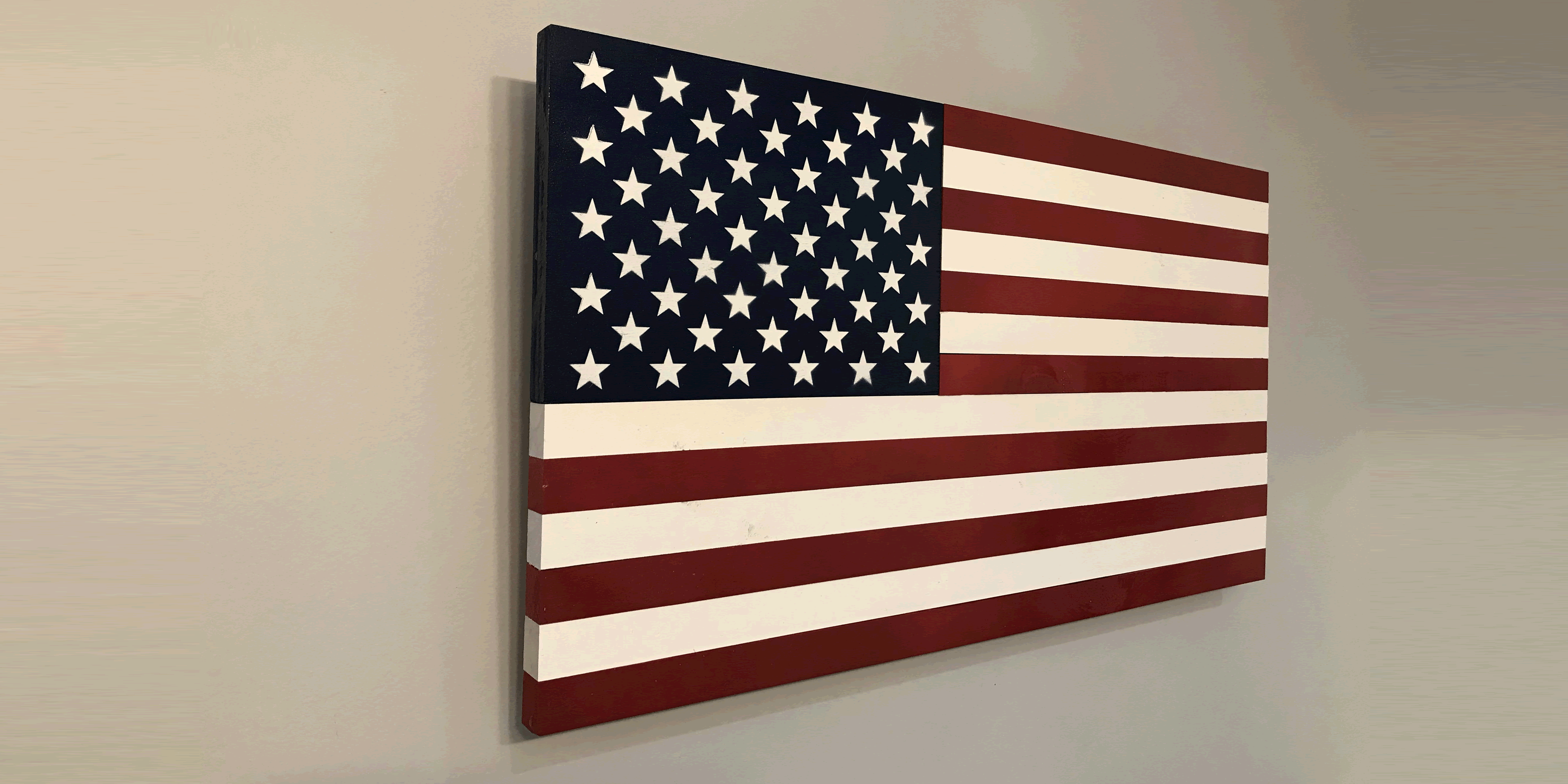 Americana US wood flag collection features the American flag with painted wood instead of stained wood. Americana wall art.