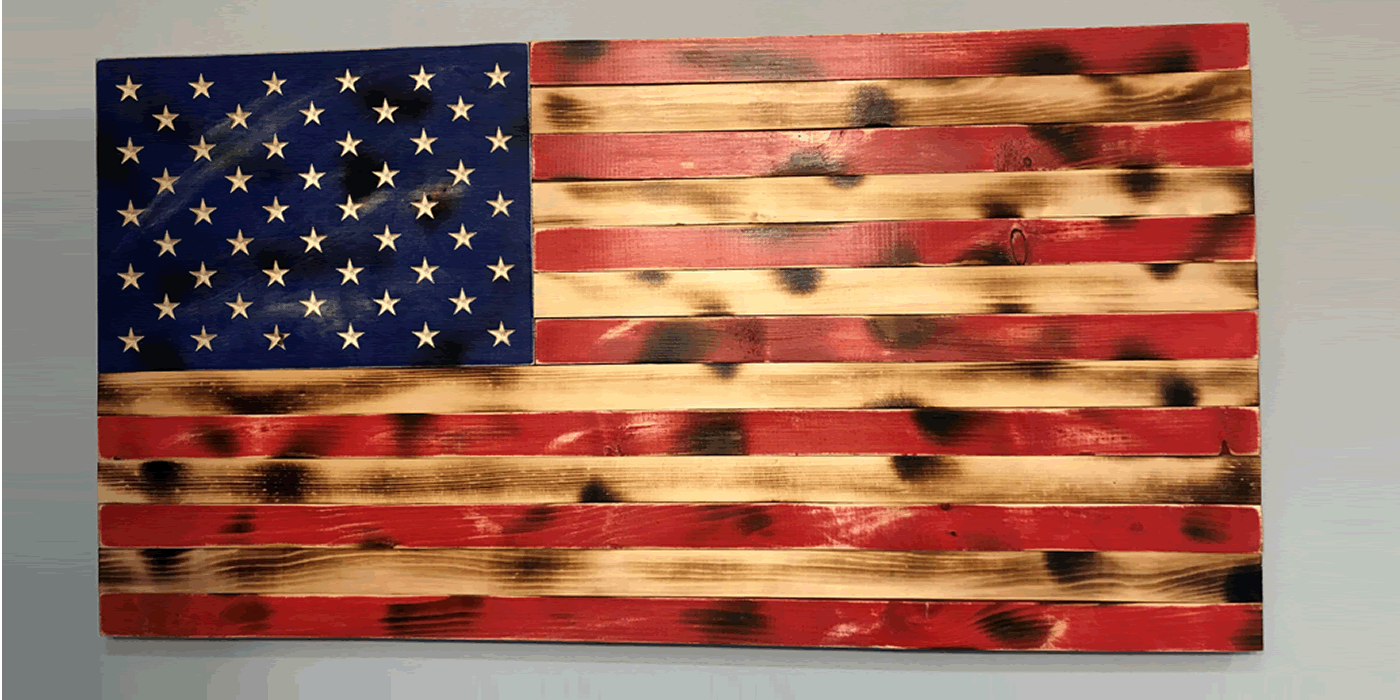 Rustic wooden American flag wall art for sale. Handmade patriotic home decor.
