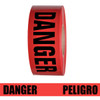 Barricade Tape - Danger / Peligro - Red 3 inch x 1000 ft Non Adhesive 2 mil (8 Roll/Pack)
