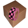 Fluorescent Pink and Black Checkerboard Flagging Tape 1 3/16 inch x 100 ft Roll Non-Adhesive (12 Roll/Pack)