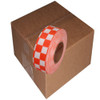 Orange and White Checkerboard Flagging Tape 1 3/16 inch x 300 ft Roll Non-Adhesive (12 Roll/Pack)