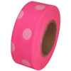 Fluorescent Pink and White Polka Dot Flagging Tape 1 3/16 inch x 100 ft Roll Non-Adhesive