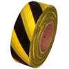 Black and Yellow Safety Striped Flagging Tape 1 3/16 inch x 300 ft Roll Non-Adhesive