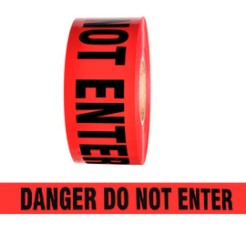 Barricade Tape - Danger Do Not Enter - Red 2 inch x 1000 ft Non Adhesive 2 mil (8 Roll/Pack)