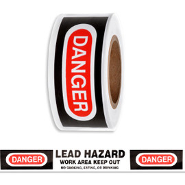 Barricade Tape - Danger Lead Hazard - White/Red/Bk 3 inch x 1000 ft Non Adhesive 2 mil (8 Roll/Pack)