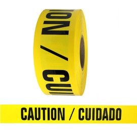 Barricade Tape - Caution Cuidado - Yellow 3 inch x 1000 ft Non Adhesive 2 mil (8 Roll/Pack)