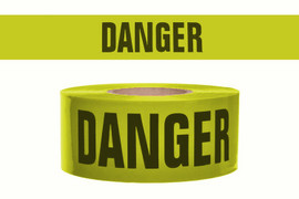 Barricade Tape - Danger Blasting Area - Yellow 3 inch x 1000 ft Non Adhesive 2 mil (8 Roll/Pack)