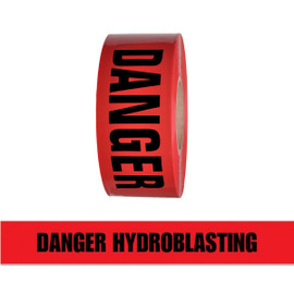 Barricade Tape - Danger Hyardroblasting - Red 3 inch x 1000 ft Non Adhesive 3 mil (8 Roll/Pack)