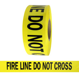 Barricade Tape - Fire Line Do Not Cross - Yellow 3 inch x 1000 ft Non Adhesive 3 mil (8 Roll/Pack)