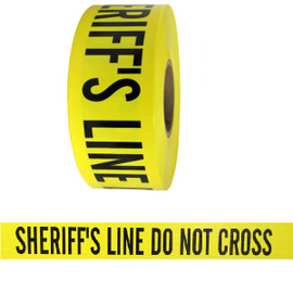 Barricade Tape - Sheriffs Line Do Not Cross - Yellow 3 inch x 1000 ft Non Adhesive 3 mil (8 Roll/Pack)