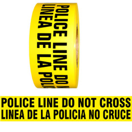 Barricade Tape - Police Line Do Not Cross/Linea De La Policia No Cruz - Yellow 3 inch x 1000 ft Non Adhesive 3 mil (8 Roll/Pack)
