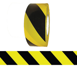 Barricade Tape - Yellow & Black Stripe 3 inch x 1000 ft Non Adhesive 3 mil (8 Roll/Pack)