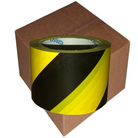 Pro Safe Barricade Tape Yellow/Black Stripe 3 inch x 200 ft (16 Roll/Pack) Non Adhesive 3 mil