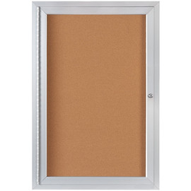 Enclosed Cork Board with Aluminum Frame 2 ft x 3 ft