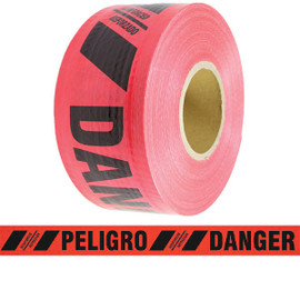 Reinforced Barricade Tape Danger/Peligro 3 inch x 500 ft Red (8 Roll/Pack)