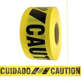 Reinforced Barricade Tape Caution/Cuidado 3 inch x 500 ft Roll Yellow/Black