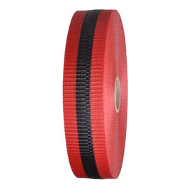 Woven Barricade Tape 2 inch x 150 ft Red with Black Stripe (48 Roll/Pack)