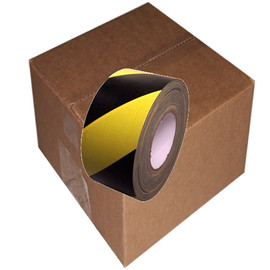 Black & Yellow Hazard Striped Duct Tape 4 inch x 60 yard Roll (12 Roll/Pack)