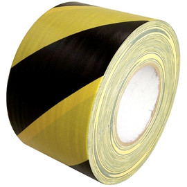 Black & Yellow Hazard Striped Duct Tape 4 inch x 60 yard Roll
