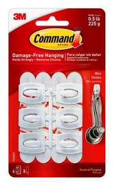 3M 17006 Command Hooks and Strips - Mini (6 Pack)