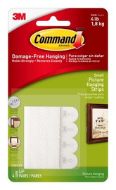 3M 17202 Command Picture Hanging Strips - Small (4 Sets)